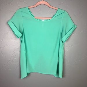 🐢Alya sea foam green blouse Cross cross open back